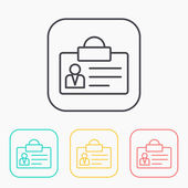 Identification card outline color icon set
