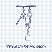 Loaded Movable Pulleys and rope physics drawing on white squared paper sheet background