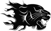 Black silhouette of a head of a tiger with a flame