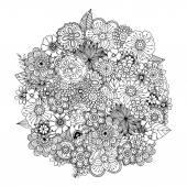 Hand drawn zentangle doodle illustration Unique lacy floral background