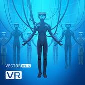 Férfiak egy virtuális-valóság sisak