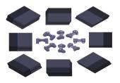 Set of the isometric black nextgen gaming consoles The objects are isolated against the white background and shown from different sides