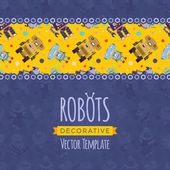 Vector decorating design made of isometric robots Colorful card template with copy space