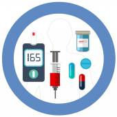 Simbolo del mondo diabete giorno cerchio blu con icona vettore sangue glucosio test insulina droga farmacia sanità disegno