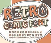 Retro high detail comic font Alphabet in style of comics pop art Multilayer letters and figures for decoration of kids illustrations websites posters comics banners