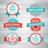 Vintage Labels template set Retro badges for your design on wooden background Vector illustration