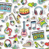 Vector seamless pattern hand drawn doodles Vector design elements: notes musical instruments music Illustration can be used for gift paper websites banners flyers posters surface texture