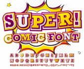 Creative red-white high detail comic font Alphabet in style of comics pop art Multilayer funny colorful letters and figures for decoration of kids' illustrations websites posters comics banners