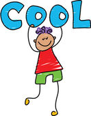 Cool kid cartoon on white background vector