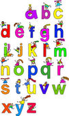 Illustration of letters of the alphabet in lowercase form with little boys and girls climbing over each character