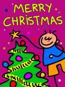 Christmas kid cartoon on white background vector