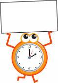 Sign time clock cartoon on white background vector