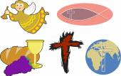 Illustration of a collection of Christian objects and symbols including a cartoon angel and icthus fish symbol a rugged cross symbol breaking of bread objects and a globe with cross isolated on a white background