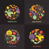 Set of 4 Halloween posters Circular patterns with elements of Halloween in bright colors in a flat design Vector illustration