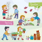 Children (boys and girls) in the spring in a gardenChildren plant a tree and flowerswater a garden-bedBoy carries a wheelbarrow with a flowerIllustration done in cartoon style