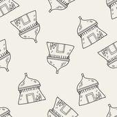Africký dům doodle vzor bezešvé pozadí
