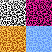 Leopard skin seamless repeated vector pattern Set of 4 different color samples