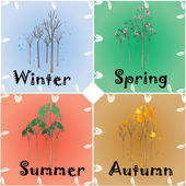 4 Seasons change from Winter Spring to Summer and Autumn created by vector illustration technique