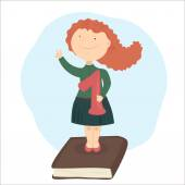 The girl with red hair standing on book holding school-deserved praise Another hand shows the sign V - victory