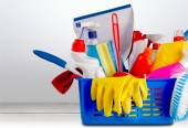 Plastic bottles, cleaning sponges and gloves