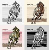 Set of horses in woodcut style