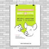 Poster design template with pig and chicken