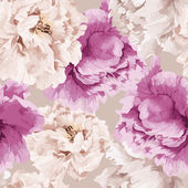 Seamless floral pattern with peony watercolor