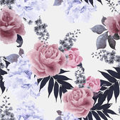 Seamless floral pattern with roses and peonies watercolor