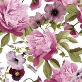 Seamless floral pattern with pansy convolvulus and peonies watercolor