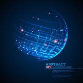 Point and curve constructed the sphere wireframe technological sense abstract background Vector illustration EPS10