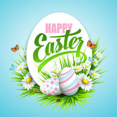 Easter poster with eggs and flowers Vector illustration