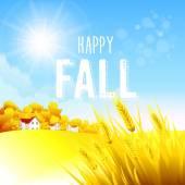 Autumn rural landscape Vector illustration EPS 10