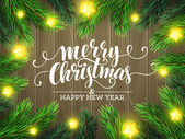 Christmas Tree Branches Border Vector Illustration EPS10