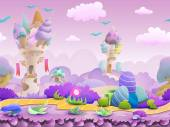 Seamless cartoon fairytale landscape vector unending background with ground castles plants and sky layers