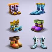 Set of cartoon boots.