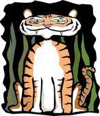 A stylish cartoon tiger lurking in long grass