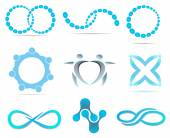 Business blue abstract logo with geometric elements background infinity corporate emblem set  circle icon