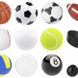 Постер, плакат: Set of sports balls soccer basketball bowling rugby tennis volleyball hockey baseball billiards golf puck 3d illustration high resolution