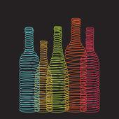Izolované abstraktní spirály vinné láhve