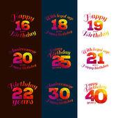 Vector illustration eighteenth birthday 16th 18 20 21 22 25 19 30 40 greetings colorful geometric pattern