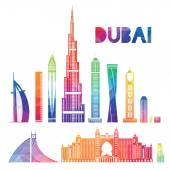 Vector illustration of the city of Dubai in the United Arab Emirates the symbols of the city skyscrapers hotels stylish graphics