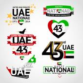 Vector set of design elements labels badges on the theme of independence Day of the United Arab Emirates