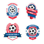 Vector Set of Badges logos for football soccer teams and tournaments championships