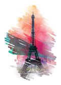 Paris travel tourist card print design element with Eiffel tower vector
