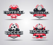 Vector Set of Badges logos for football hockey soccer volleyball vector
