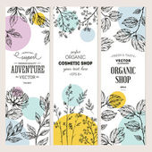 Botanical banner collection Organic cosmetic Vector illustration