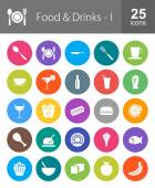 Food and Drinks icon set Suitable for web apps mobile apps and print media