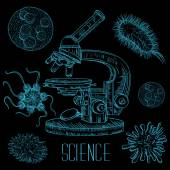 Vintage science laboratory set with microscope and microbes and viruses. Vector isolated hand drawn illustration in line art style