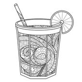 Coloring book for adults A glass of lemonade in zentangle style Monochromatic illustration isolated on white background Design for covers banners menu and etc