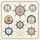 Nautical anchors label  set in blue yellow and red colours